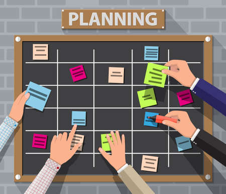 Illustration pour Bulletin board hanging on brick wall full of tasks on sticky note cards and hands. Development, team work, agenda, to do list. Vector illustration in flat style - image libre de droit