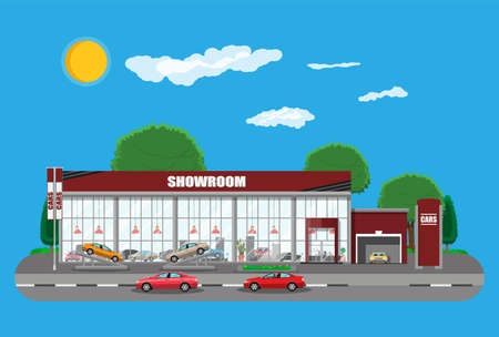 Illustration for Exhibition pavilion, showroom or dealership. - Royalty Free Image