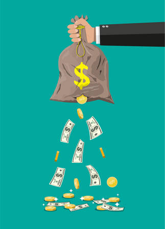 Illustration for Money bag with hole in hand. Losing golden coins and dollar cash. Losing money and overspending. Vector illustration in flat style - Royalty Free Image