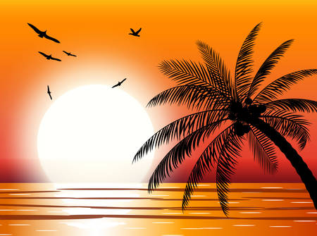 Illustration pour Silhouette of palm tree on beach. Sun with reflection in water and seagulls. Sunset in tropical place. - image libre de droit