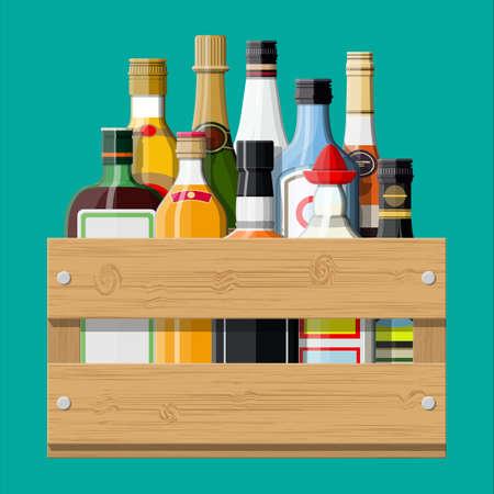 Illustration pour Alcohol drinks collection in box - image libre de droit