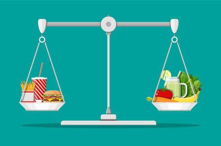 Ilustración de Greasy cholesterol vs. vitamins food - Imagen libre de derechos