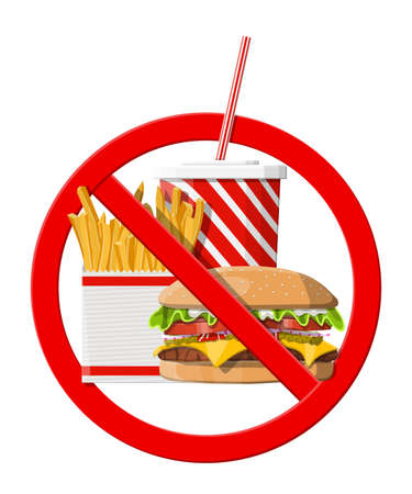 Illustration for No fast food allowed. Rejecting junk food, snacks. Fat, overweight. Cup of cola with fries and cheeseburger. Fastfood. Vector illustration in flat style - Royalty Free Image