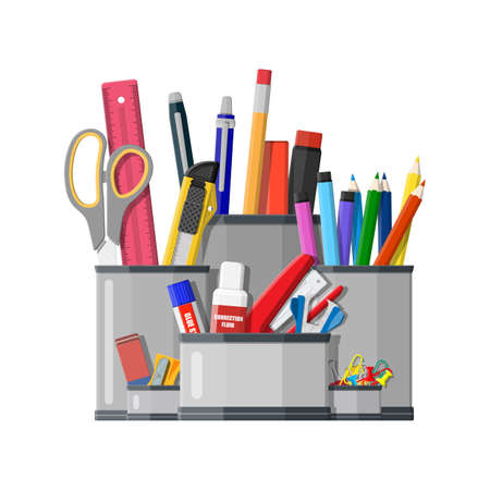Illustration pour Pen holder office equipment. Ruler, knife, pencil, pen, scissors. Office supply stationery and education. Vector illustration flat style - image libre de droit