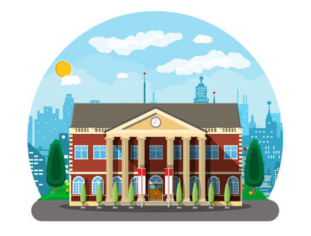 Illustration pour Classical school building and cityscape. Brick facade with clocks. Public educational institution. College or university organization. Tree, clouds, sun. Vector illustration in flat style - image libre de droit