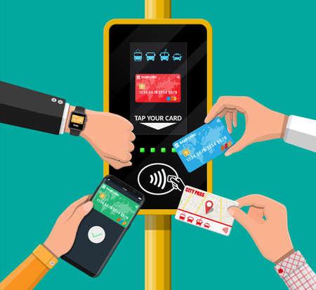 Illustration pour Airport, metro, bus, subway ticket validator. - image libre de droit
