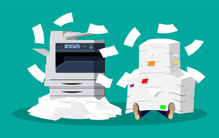 Illustration pour Office multifunction machine. Pile of paper documents. Bureaucracy, paperwork, overwork, office. Printer copy scanner device. Proffesional printing station. Vector illustration in flat style - image libre de droit