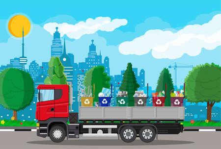 Illustration pour Truck for transportation garbage. - image libre de droit