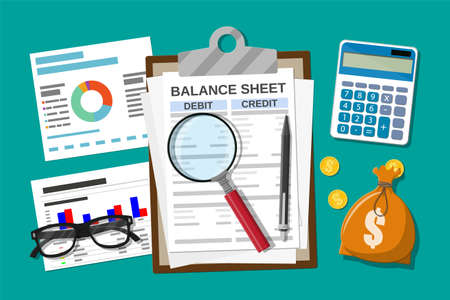 Illustration pour Clipboard with balance sheet and pen. Calculator money balance. Financial reports statement and documents. Accounting, bookkeeping, audit debit and credit calculations. Vector illustration flat style - image libre de droit