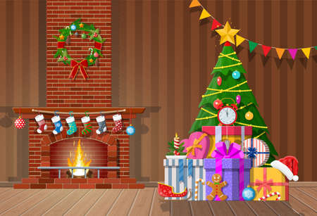 Illustration for Christmas interior of room with tree, gifts and decorated fireplace. Happy new year decoration. Merry christmas holiday. New year and xmas celebration. Vector illustration flat style - Royalty Free Image