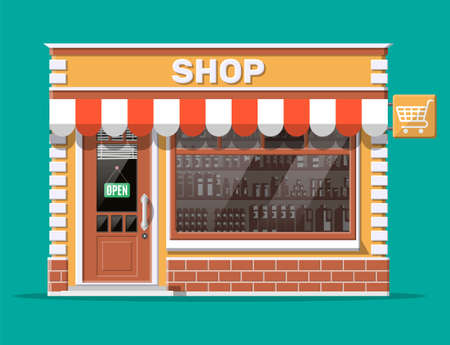 Illustration for Empty store front with window and door. Wooden and brick facade. Glass showcase of boutique. Small european style shop exterior. Commercial, property, market or supermarket. Flat vector illustration - Royalty Free Image