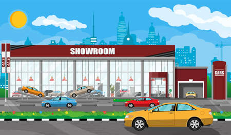 Illustration for Exhibition pavilion, showroom or dealership. Car showroom building. Car center or store. Auto service and shop. Cityscape, road, house, tree, sky, cloud and sky. Vector illustration in flat style - Royalty Free Image