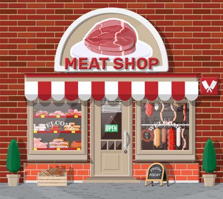Illustration pour Vintage butcher shop store facade with storefront. - image libre de droit