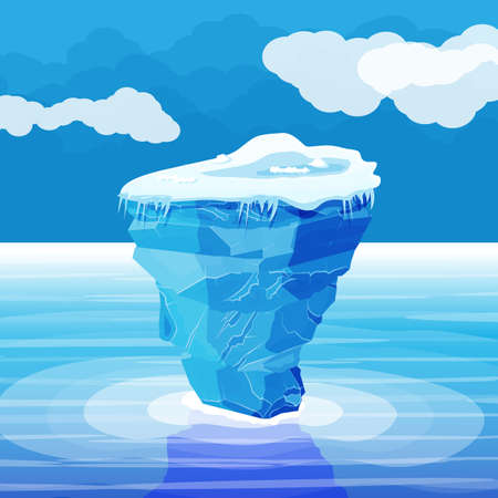 Illustration for Big iceberg and ocean. Ice in sea. - Royalty Free Image