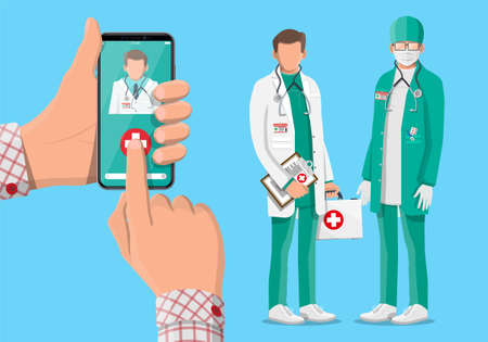 Illustration pour Mobile phone with telemedicine app. Pills and bottles, medicine online. Medical assistance, help, support. Doctor with first aid kit. Health care application on smartphone. Flat vector illustration - image libre de droit