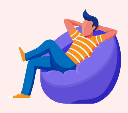 Illustration pour Young man sitting and chilling on bean bag. Man is resting in bag chair. Freelancer relaxing after work. Hipster character in jeans and t-shirt. Flat vector illustration - image libre de droit