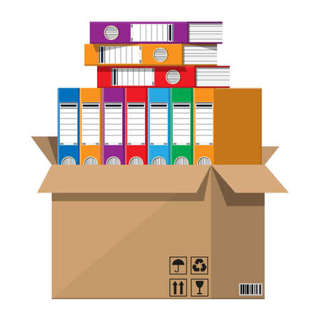 Illustration pour Pile of paper documents, file folders in cardboard box. Huge paperwork and bureaucracy, big data concept. Unorganized messy stack of papers and office work. Flat vector illustration - image libre de droit