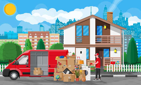 Illustration for Moving to new house. Family relocated to new home. Male mover, paper cardboard boxes near house facade. Package for transportation. Delivery van full of goods. Vector illustration in flat style - Royalty Free Image