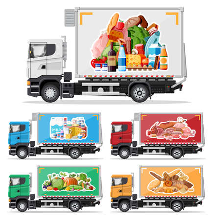 Illustration for Truck car full of food products. Shop and farm delivering service. Delivery and selling grocery products concept. Meat, milk, bread, vegetables. Cargo and logistic. Cartoon flat vector illustration - Royalty Free Image