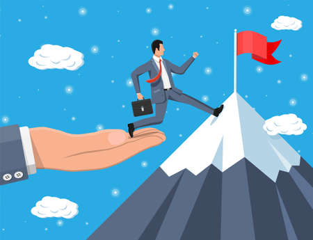 Illustration pour Businessman on chart ladder is fast running with waving necktie and briefcase. Goal setting. Smart goal. Business target concept. Achievement and success. Vector illustration in flat style - image libre de droit