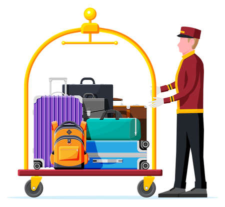 Illustration pour Hotel Luggage Cart Full of Luggage and Bellhop - image libre de droit