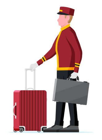 Illustration pour Hotel Bellboy at Work Carrying Guests Bags. - image libre de droit