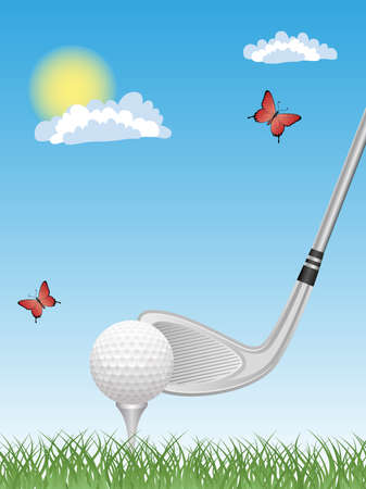 Sport background with a putter and a golf ball.