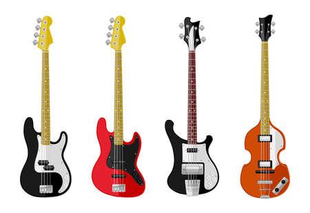 Set of isolated vintage guitars  Flat design