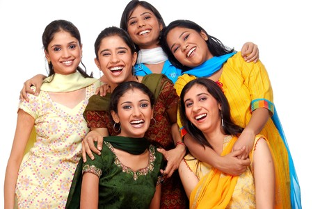 group of six young cheerful girls