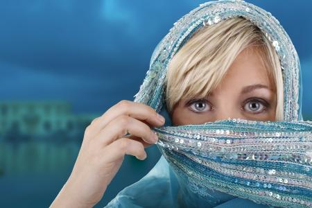 Veiled european woman