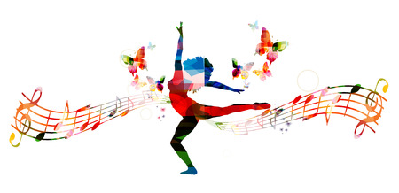 Colorful music background with woman dancing