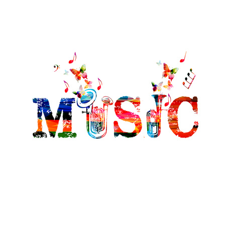 Music inscription with instruments. Colorful double bell euphonium and euphonium isolated vector illustration. Word music