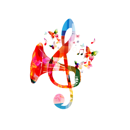 Illustration pour Colorful G-clef with gramophone horn isolated - image libre de droit