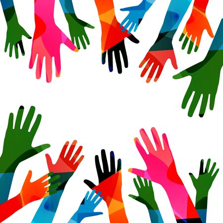Illustration for Colorful human hands raised isolated vector illustration. Charity and help, volunteerism, social care and community support concepts - Royalty Free Image