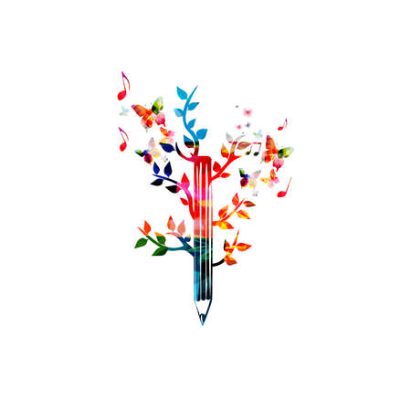 Illustration pour Colorful pencil with leaves for creative writing, idea and inspiration, education and learning concept. Blogging, composing and copywriting - image libre de droit