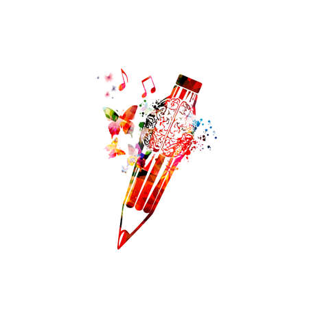 Illustration for Colorful pencil with brain symbol for creative writing, idea, inspiration, education and learning concept. - Royalty Free Image