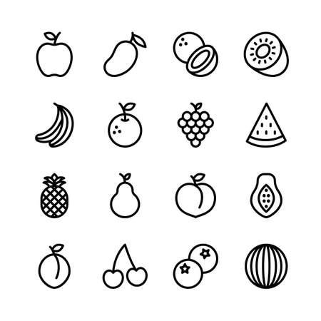 Illustration pour Fruit line icons set, outline style. Vector illustration - image libre de droit