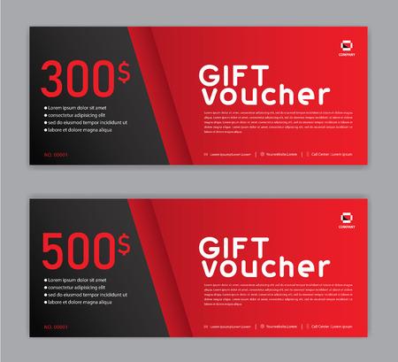 Illustration pour Gift Voucher template, Sale banner, Horizontal  layout, discount cards, headers, website, red background. - image libre de droit