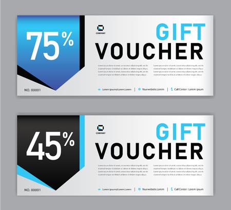 Illustration pour Gift Voucher template, Sale banner, Horizontal  layout, discount cards, headers, website, blue background. - image libre de droit