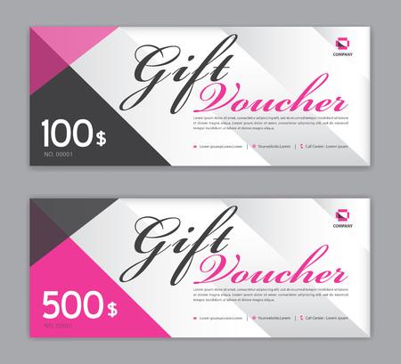Illustration pour Gift Voucher template, Sale banner, coupon design,ticket, Horizontal  layout, discount cards, headers, website, Pink background, vector illustration EPS10 - image libre de droit