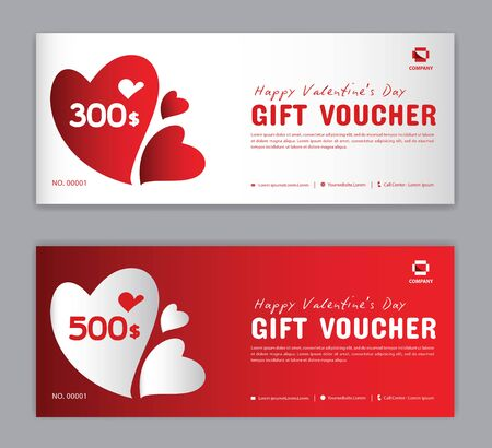 Illustration pour Gift Voucher template, Coupon, discount, for Happy Valentine Day, Sale banner, Horizontal  layout, discount cards, headers, website, red background, vector illustration EPS10 - image libre de droit