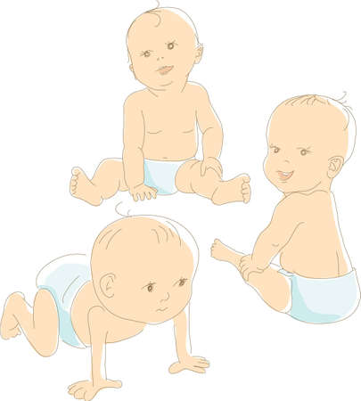 Photo for Funny babies in diapers, different positions - crawling, sitting, looking. Artistic vector illustration - Royalty Free Image