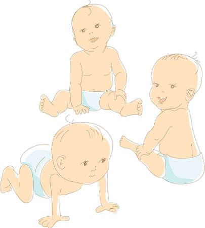 Foto de Funny babies in diapers, different positions - crawling, sitting, looking. Artistic vector illustration - Imagen libre de derechos
