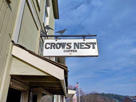 San Juan Island, WA / USA - November 9th, 2019: Crow's Nest coffee and sandwich house in Friday Harbor on San Juan Island, WA.