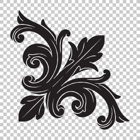 Illustration pour Isolate vintage baroque ornament retro pattern antique style acanthus. Decorative design element filigree calligraphy vector. You can use for wedding decoration of greeting card and laser cutting. - image libre de droit