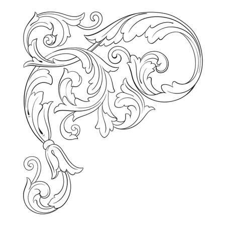 Ilustración de Vintage baroque frame scroll ornament engraving border floral retro pattern antique style. - Imagen libre de derechos