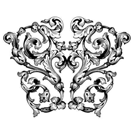 Ilustración de Retro baroque decorations element with flourishes calligraphic ornament. Vintage style design collection for Posters, Placards, Invitations, Banners, Badges and Logotypes. - Imagen libre de derechos