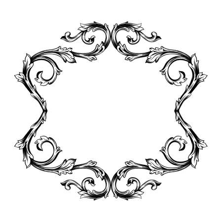 Illustration pour Classical baroque vector of vintage element for design. Decorative design element filigree calligraphy vector. You can use for wedding decoration of greeting card and laser cutting. - image libre de droit