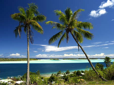 Bora Bora Lagoon Motus and Main Island in French Polynesia from above. Dreamlike colors. 40