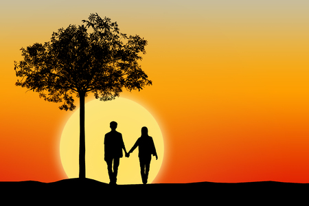 Silhouette of couple man and woman at tree with sunset background, Wedding love concept.